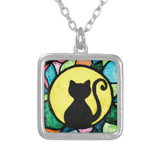 Stained Glass Kitty Watercolour Necklace
