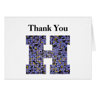 Stained Glass Letter H Wedding Gift Thank You Card