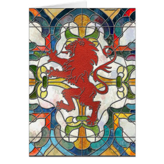 Stained Glass Lion Crest Card