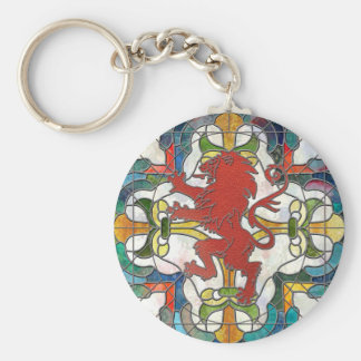Stained Glass Lion Crest Keychain