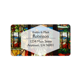 Stained glass look with lady sitting. label