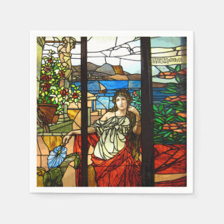 Stained glass look with lady sitting. napkin