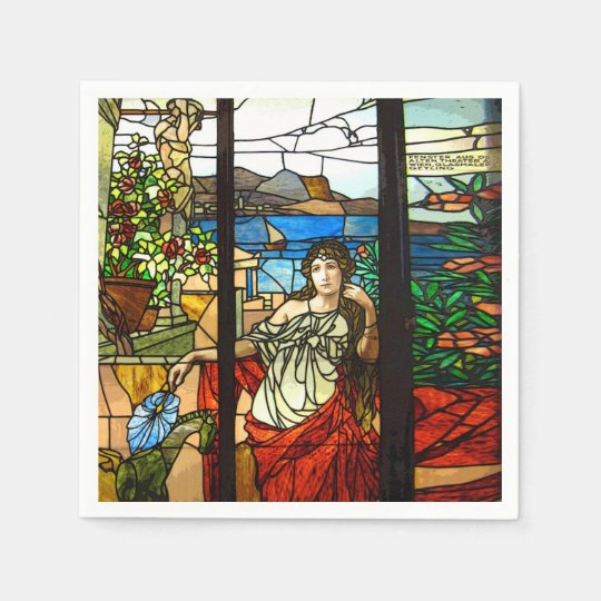 Stained glass look with lady sitting. paper napkins