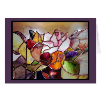 Stained Glass Luxury Flower Greeting Card
