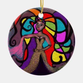 Stained Glass Mandy. Round Ceramic Ornament