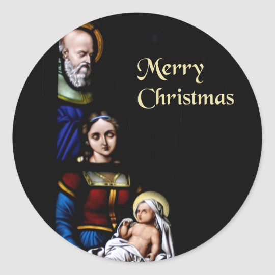 Stained Glass Merry Christmas Classic Round Sticker