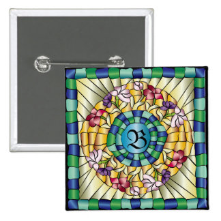 Stained Glass Monogram Colorful Jewel Flowers 2 Inch Square Button