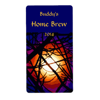 Stained Glass Moon Abstract Beer Label Shipping Label