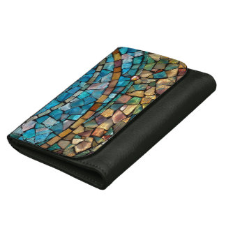 """Stained Glass Mosaic Leather Wallet """"In Beginning"""""""