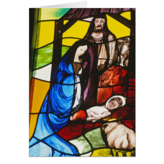 Stained-glass nativity card