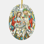 Stained Glass Nativity Painting