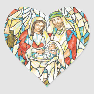 Stained Glass Nativity Painting Heart Sticker