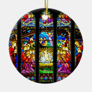Stained Glass Nativity Scene Christmas Ornament