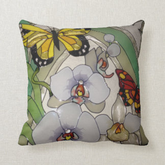 Stained glass orchids and butterflies throw pillow