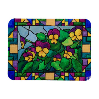 Stained Glass Pansies Magnet