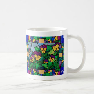 Stained Glass Pansies Mug