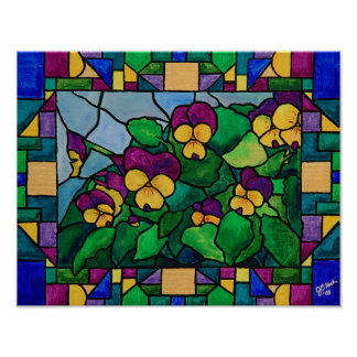 Stained Glass Pansies Poster