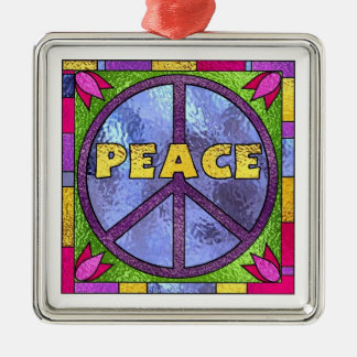 Stained Glass Peace Metal Ornament