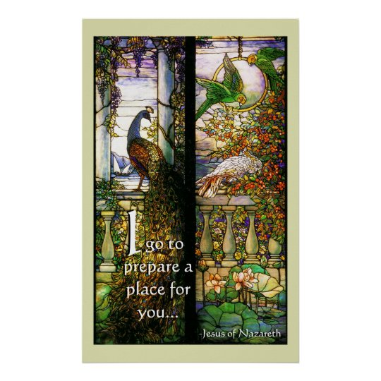 Stained Glass Peacock Heavenly Place for You Poster
