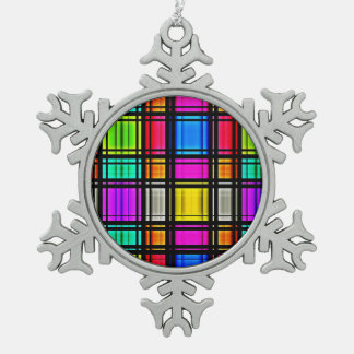 Stained Glass Pewter Snowflake Ornament