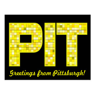 Stained Glass PIT Black and Gold Postcard