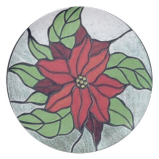 Stained Glass Poinsettia Plate