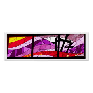 Stained Glass Poster Art Three Crosses of Easter