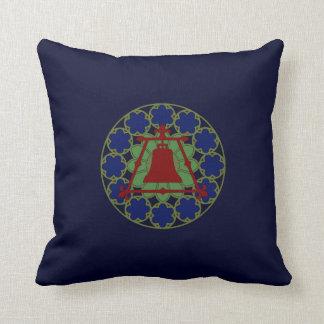 Stained Glass Raincross Fleur Design Throw Pillow