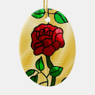 Stained glass red rose ceramic oval ornament