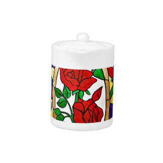 Stained glass red roses