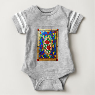 Stained glass red roses baby bodysuit