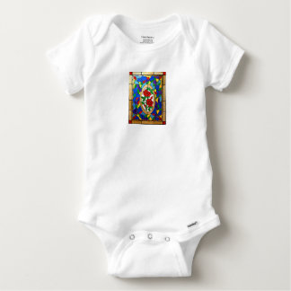 Stained glass red roses baby onesie