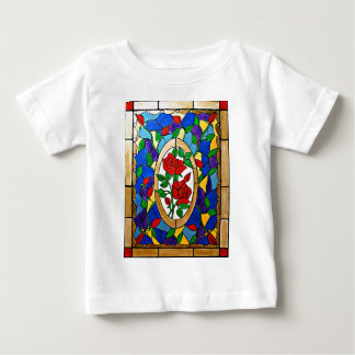 Stained glass red roses baby T-Shirt