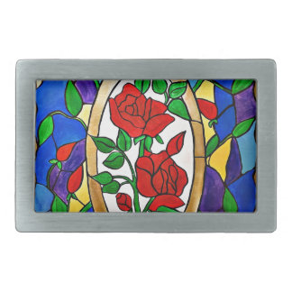 Stained glass red roses belt buckle