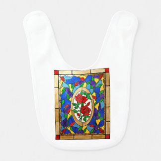Stained glass red roses bib