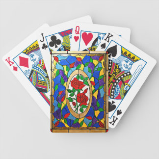 Stained glass red roses bicycle playing cards
