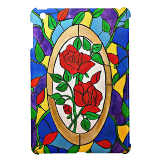 Stained glass red roses case for the iPad mini