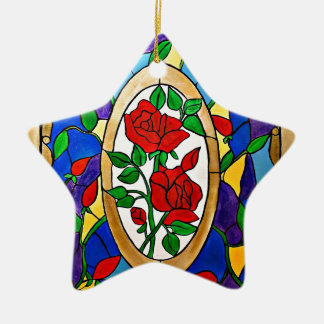 Stained glass red roses ceramic ornament