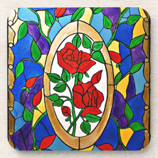 Stained glass red roses coaster