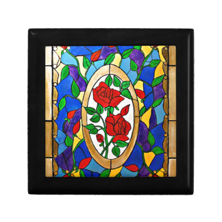 Stained glass red roses gift box