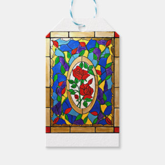 Stained glass red roses gift tags