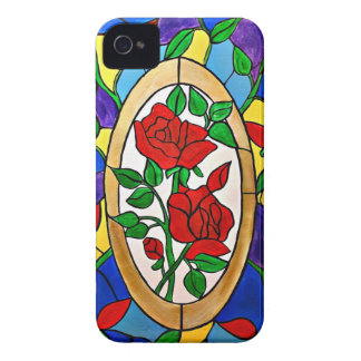 Stained glass red roses iPhone 4 case