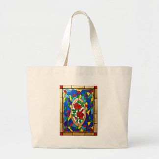 Stained glass red roses large tote bag