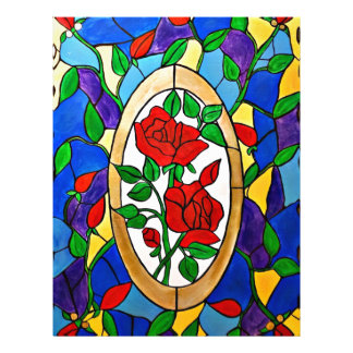 Stained glass red roses letterhead