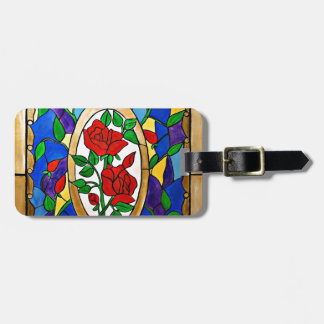 Stained glass red roses luggage tag