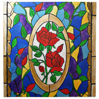 Stained glass red roses napkin