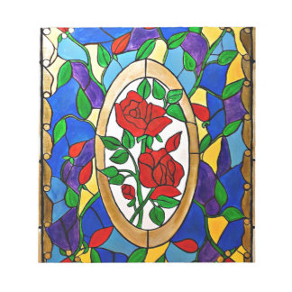 Stained glass red roses notepad