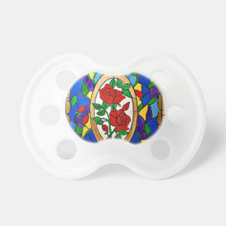 Stained glass red roses pacifier