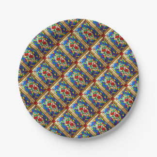 Stained glass red roses paper plate