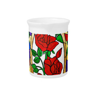 Stained glass red roses pitcher